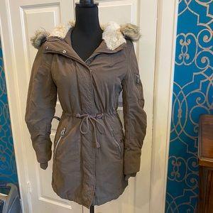 H&M Thick Insulated Parka Jacket Faux Fur Trim